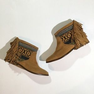 Zara Size 6.5 Tribal Fringe Pull Up Ankle Booties